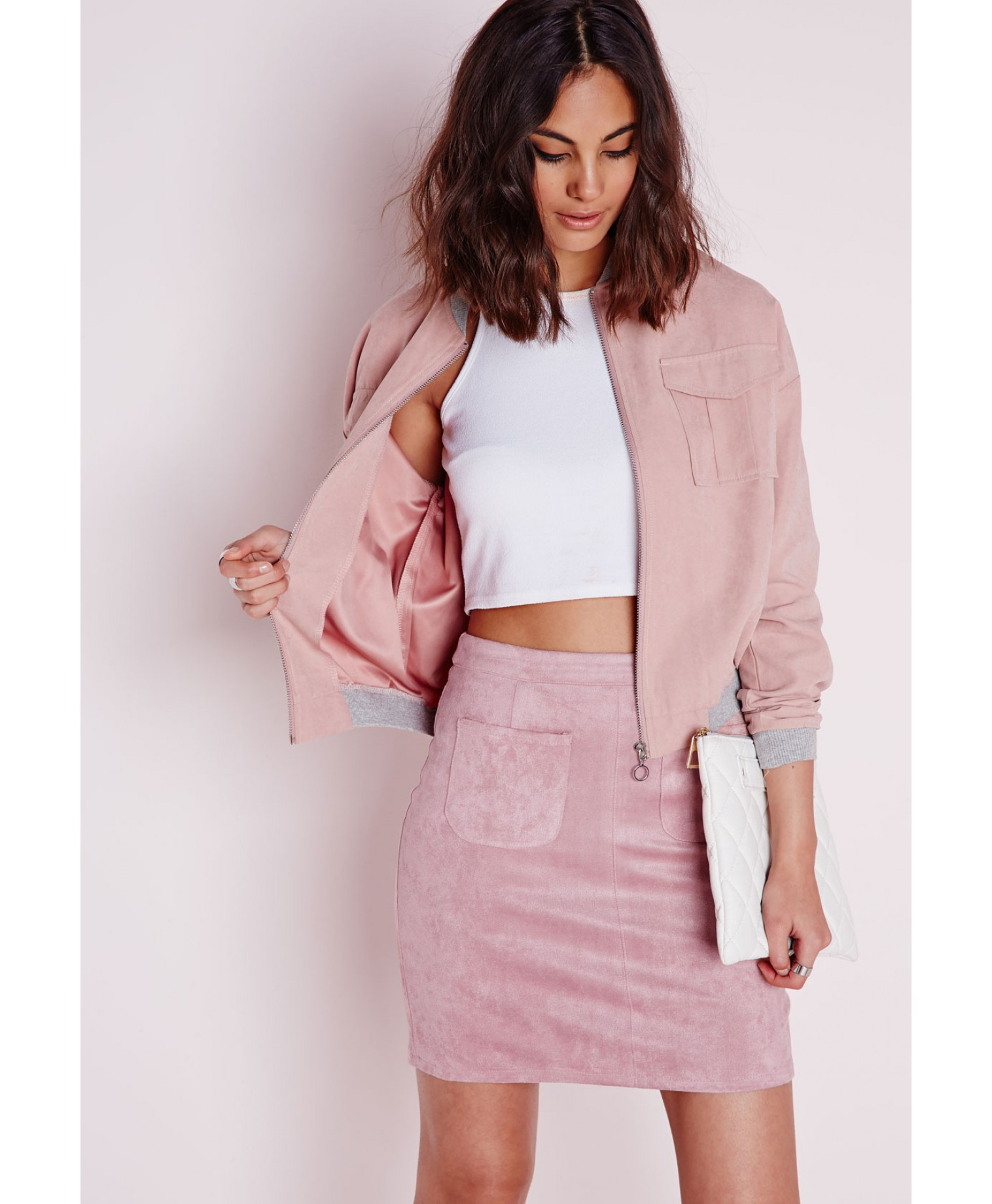 Missguided Pocket Faux Suede Mini Skirt Mauve in Pink | Lyst