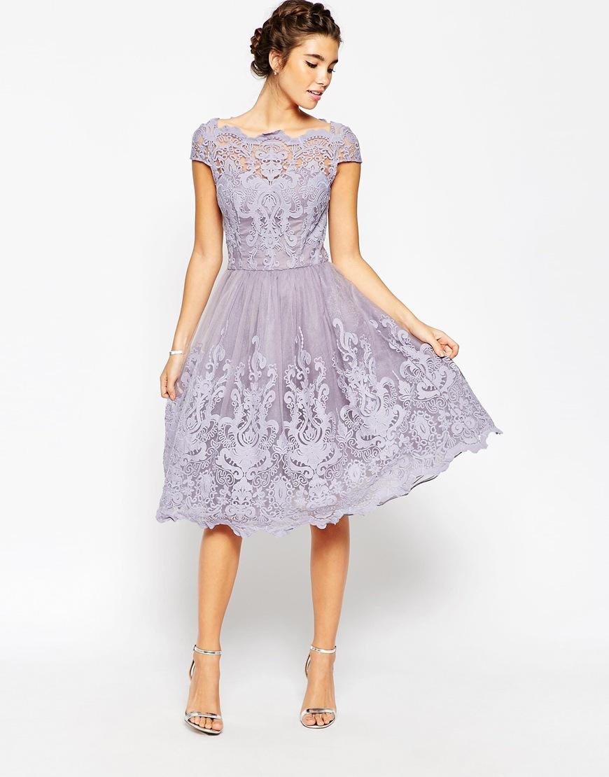 Chi Chi London Premium Lace Midi Prom Dress With Bardot