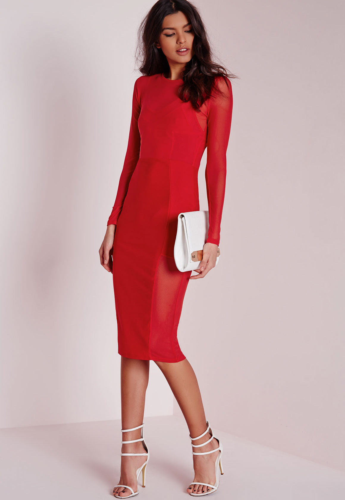 Look - Sleeved Long red dress pictures video