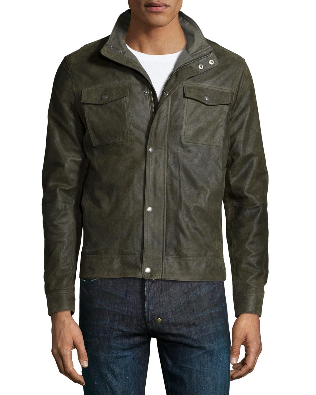 John varvatos Utility-Pocket Leather Bomber Jacket in ...