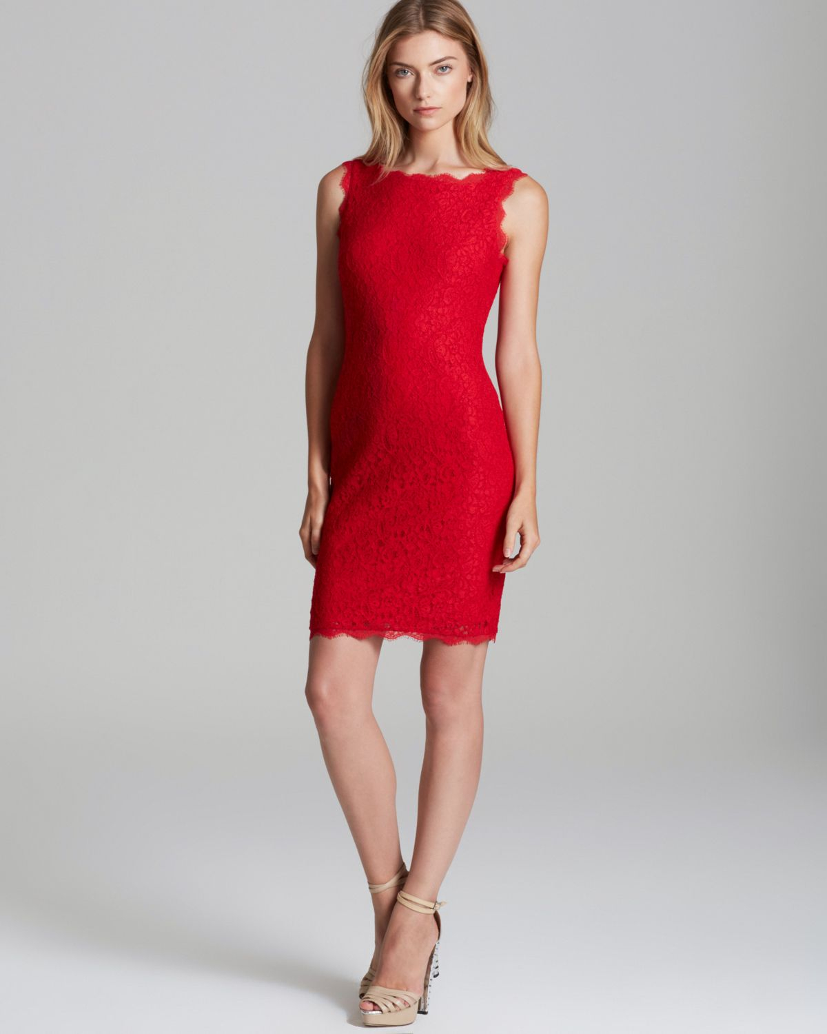 Adrianna papell Sleeveless Lace Shift Dress in Red | Lyst