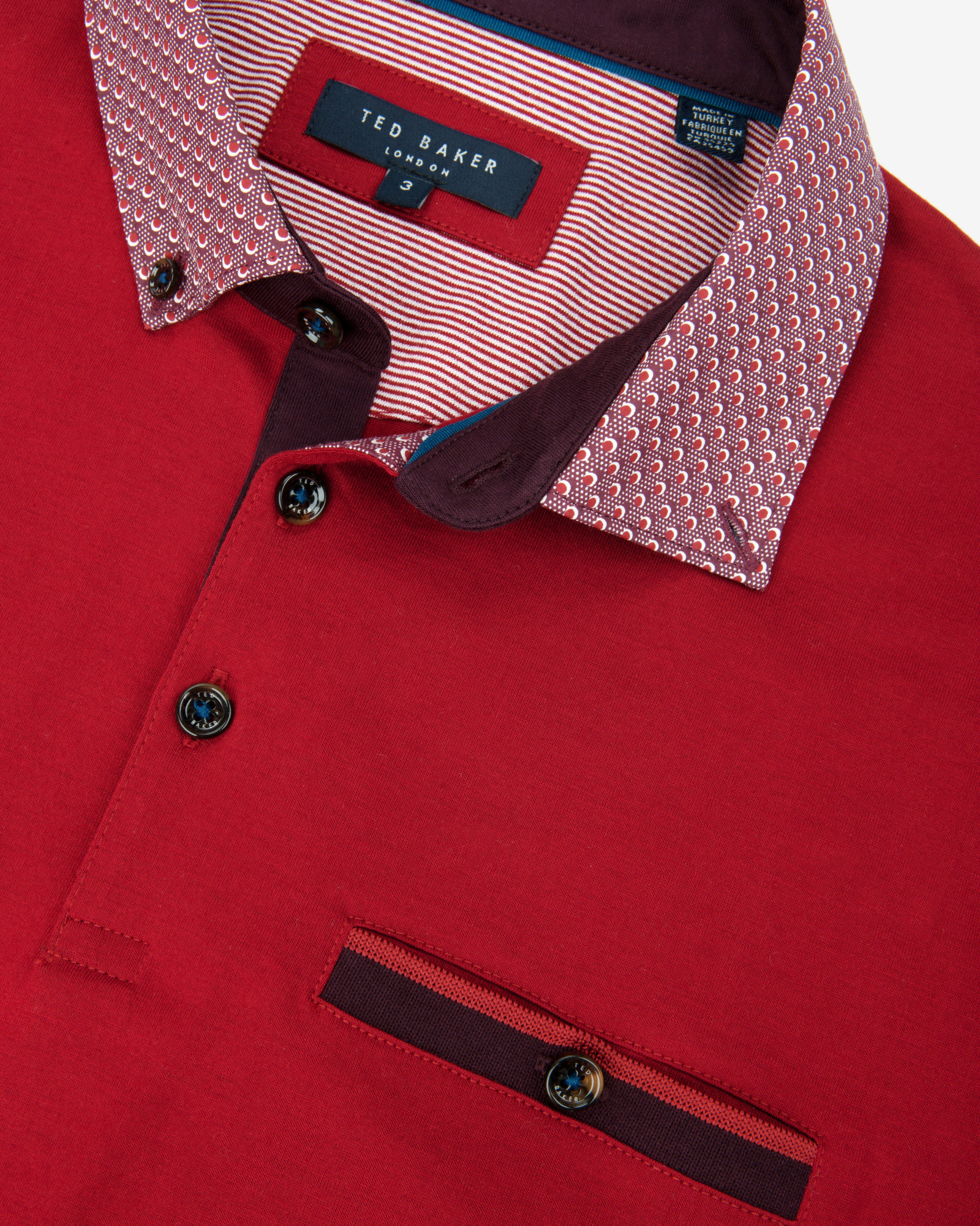2f3bfd055e653 Ted Baker Printed Collar Polo Shirt in Red for Men - Lyst
