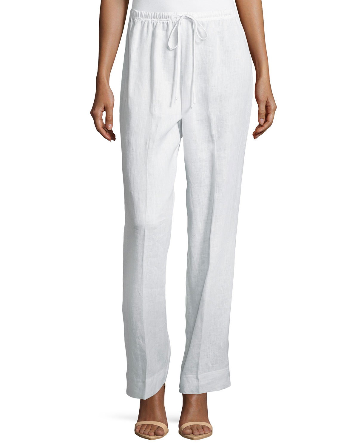 Neiman marcus Wide-leg Drawstring Linen Pants in White | Lyst