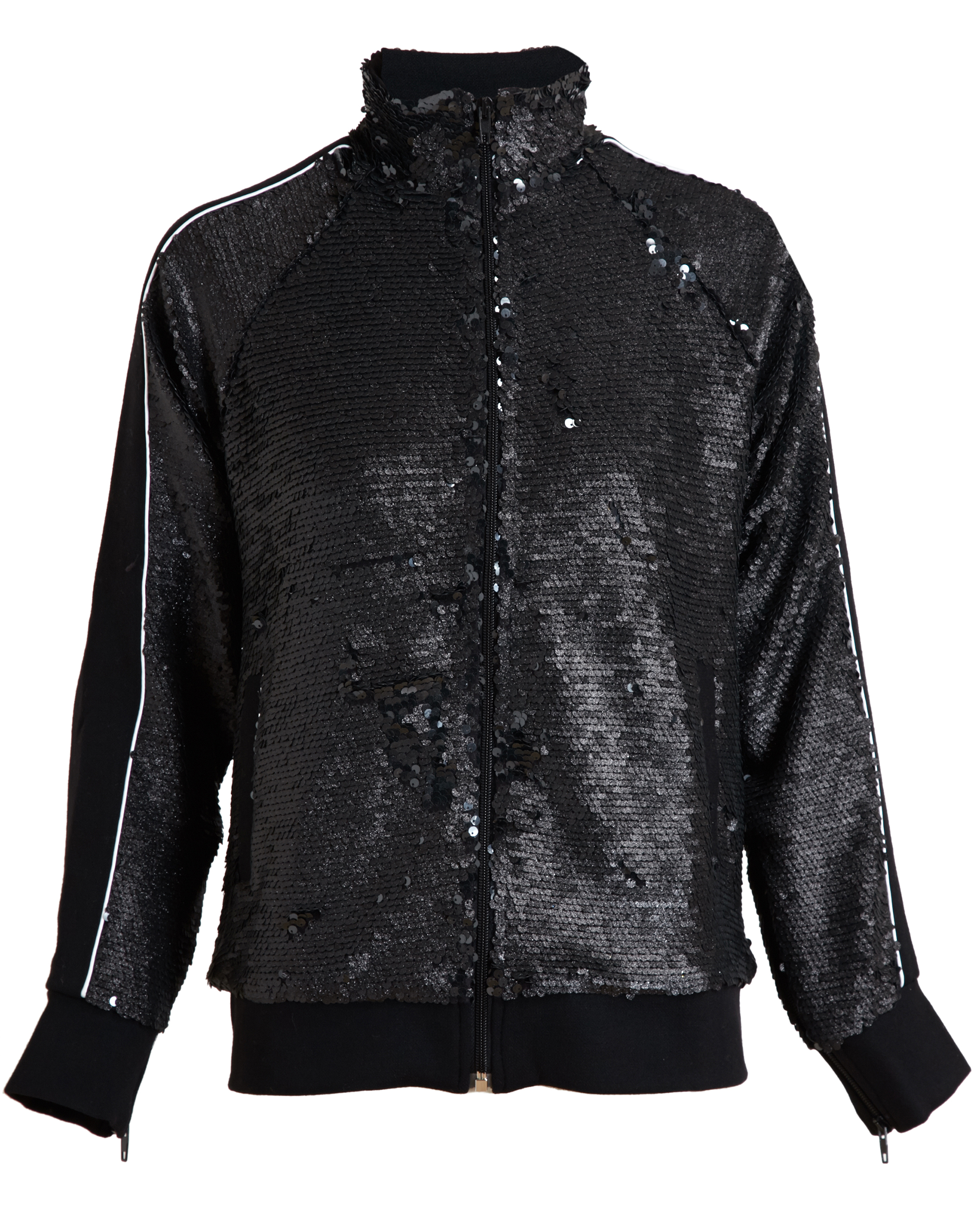 This black sequin jacket is the perfect fit for a popstar costume. Includes: Jacket; Available in Sizes: Small - Fits jacket size. Medium - Fits jacket size.