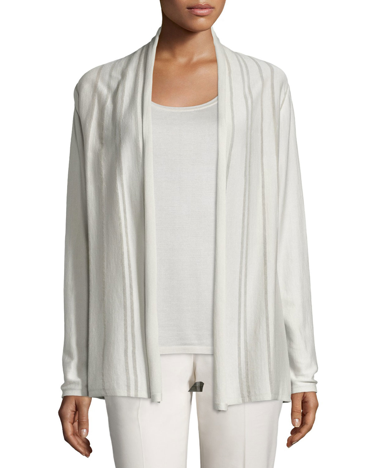 Lafayette 148 new york Sheer Striped Silk/cotton Cardigan | Lyst