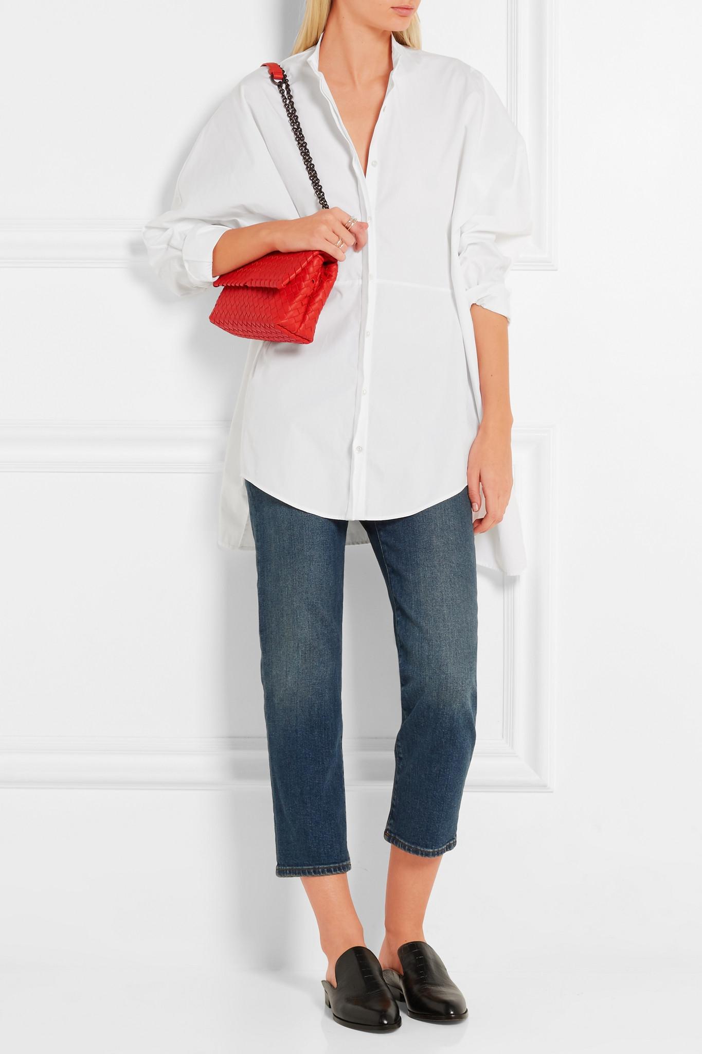 321c6afa25c3 Bottega Veneta Olimpia Mini Intrecciato Leather Shoulder Bag in Red ...