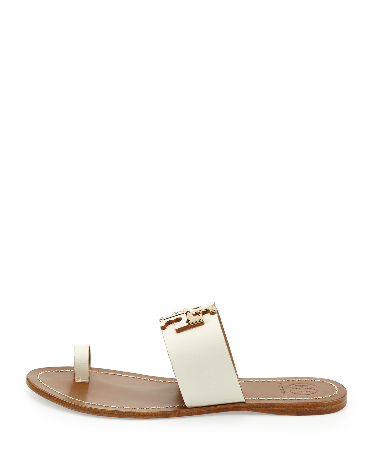 ad53f6148 Lyst - Tory Burch Lowell Leather Logo Sandal in Natural