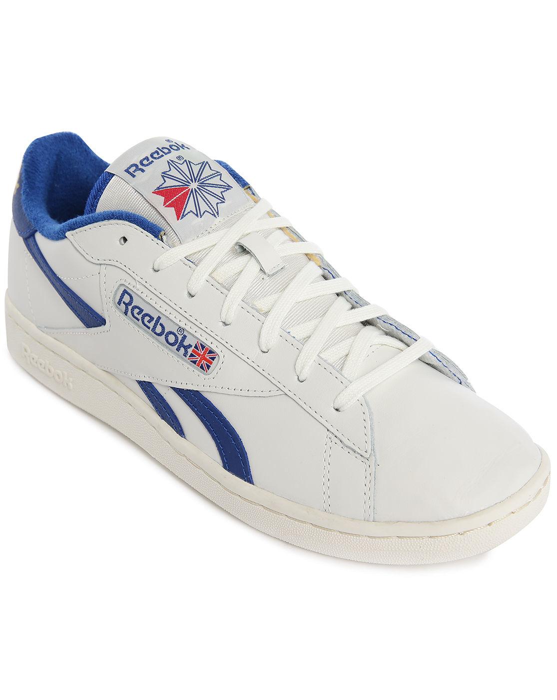 reebok npc uk white blue leather sneakers in blue for