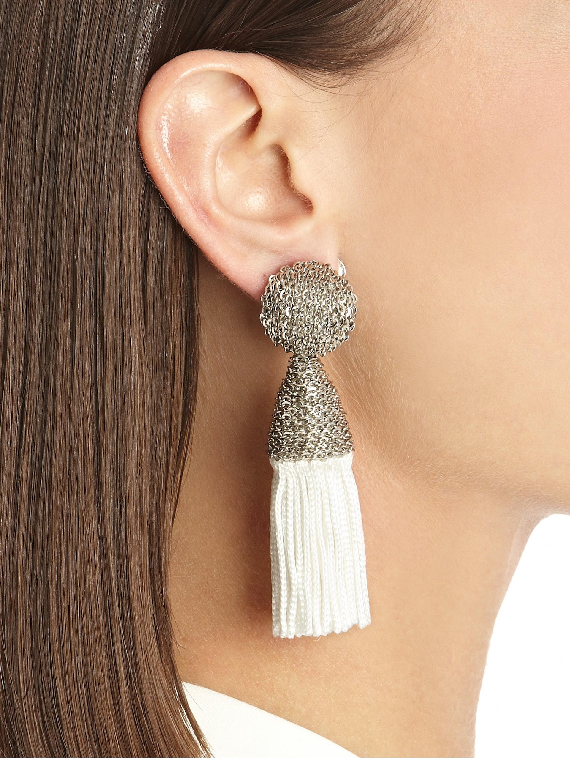 Lyst Oscar De La Renta Metal Top Short Silk Tassel Earrings In