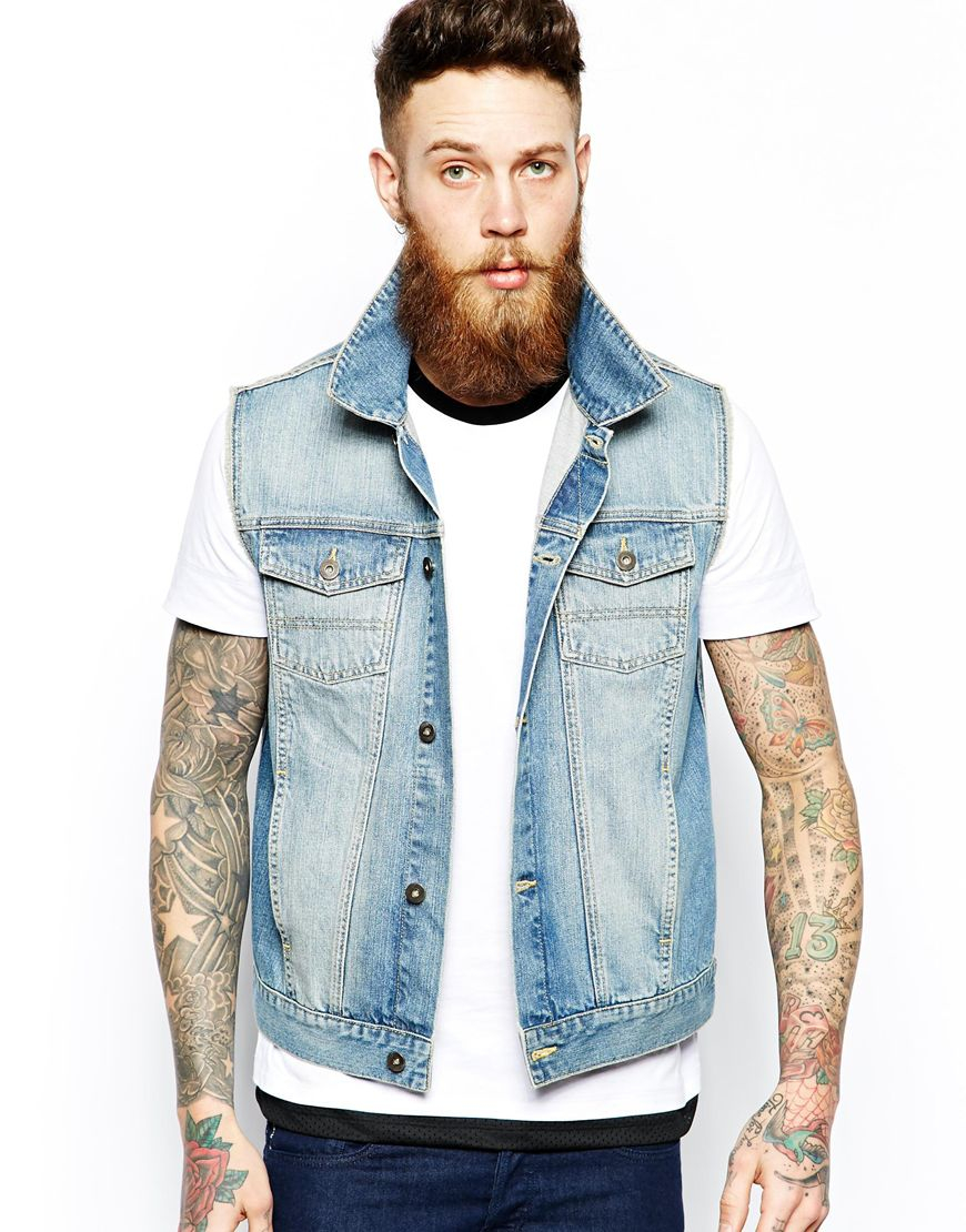 Asos Sleeveless Denim Jacket With Flag Print in Blue for Men | Lyst