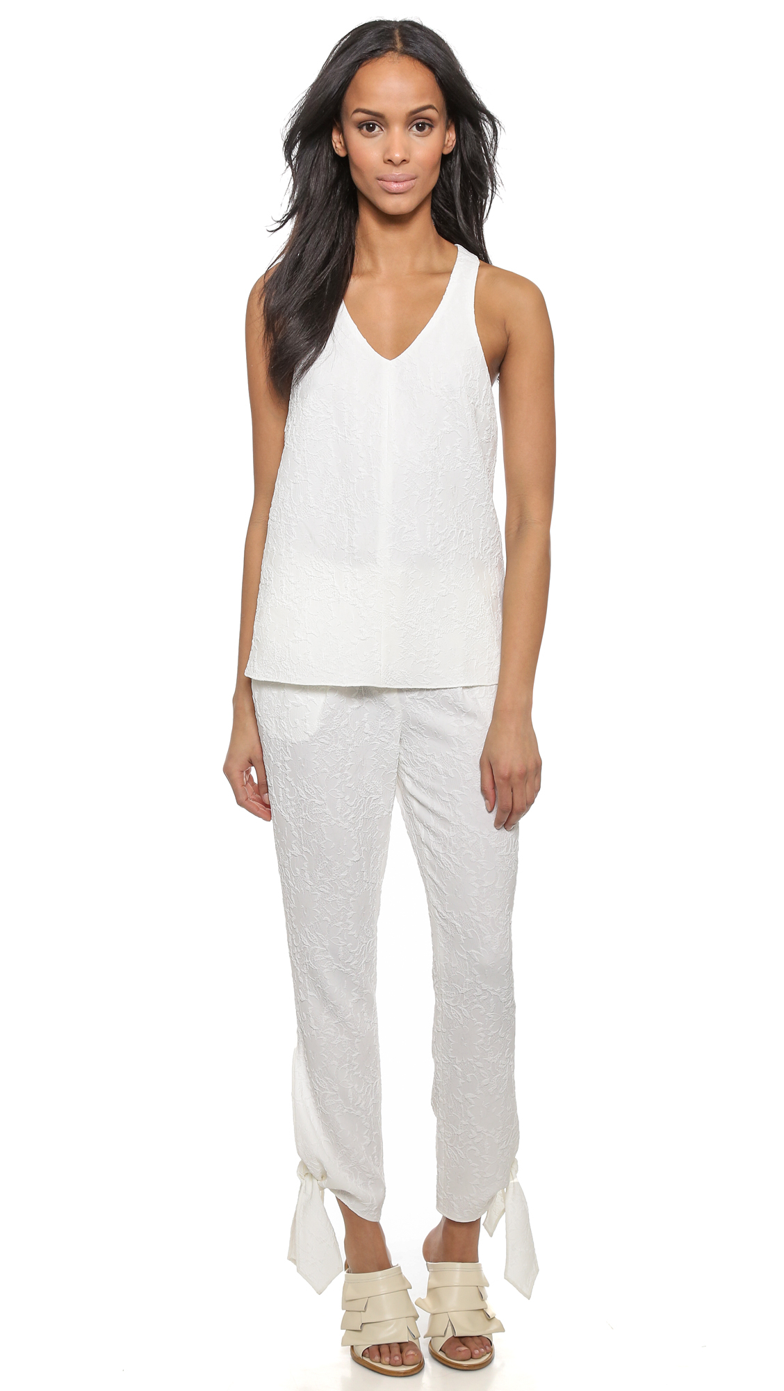 Tibi Pants With Side Ties Ivory In White Lyst