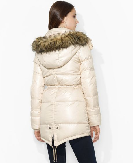 Lauren By Ralph Lauren Hooded Fauxfurtrim Quilted Puffer
