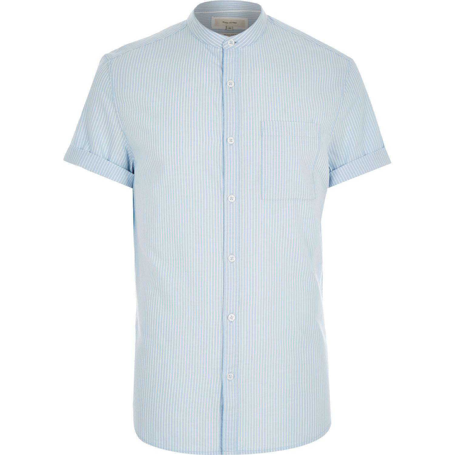 River island blue stripe short sleeve grandad shirt in for Short sleeve grandad shirt
