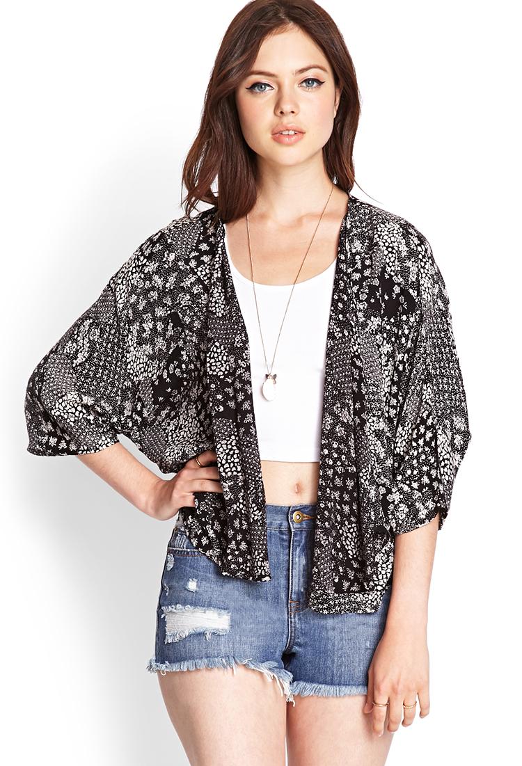 Forever 21 Mixed Floral Kimono in Black (Black/cream) | Lyst