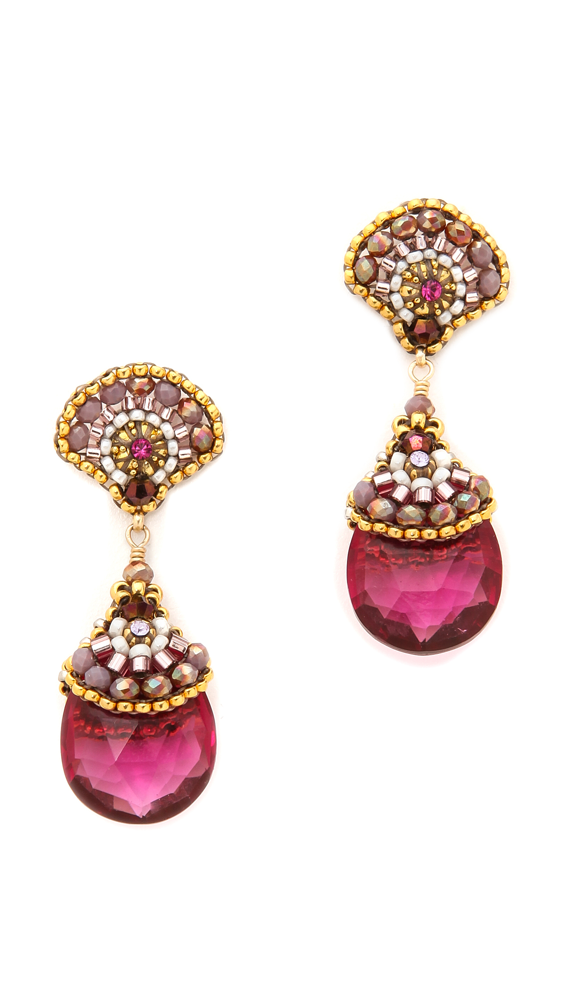 Lyst Miguel Ases Scallop Stone Drop Earrings Pink Multi