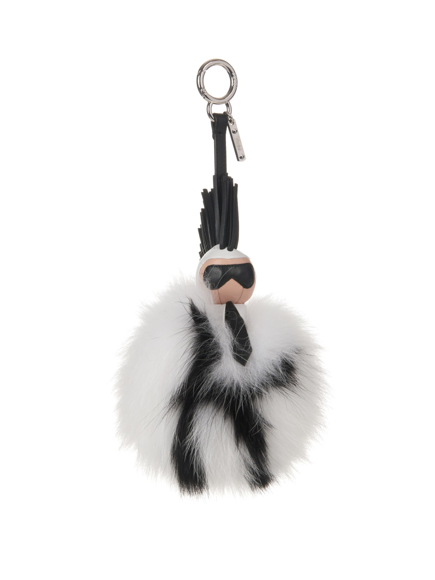 c3ee1989de ... canada lyst fendi super karlito pompom fox fur bag charm in black 371ec  846eb