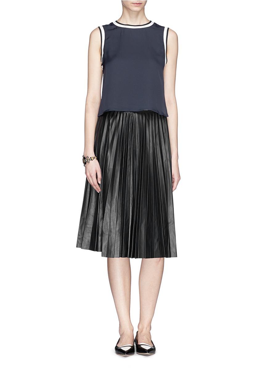 theory zeyn ls pleat leather skirt in black lyst