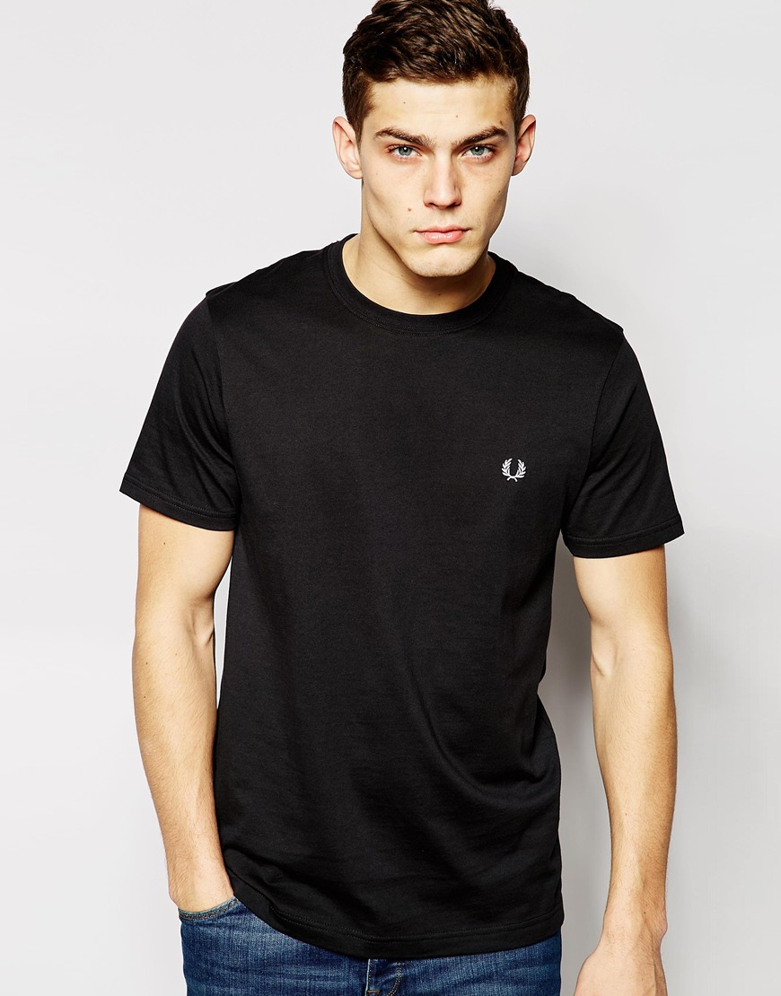 fred perry t shirt with crew neck in black for men lyst. Black Bedroom Furniture Sets. Home Design Ideas