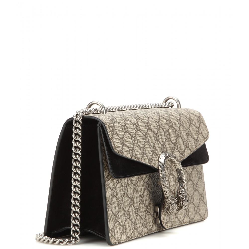 673f610d85bd2c Gucci Dionysus Gg Supreme Suede Shoulder Bag in Natural - Lyst