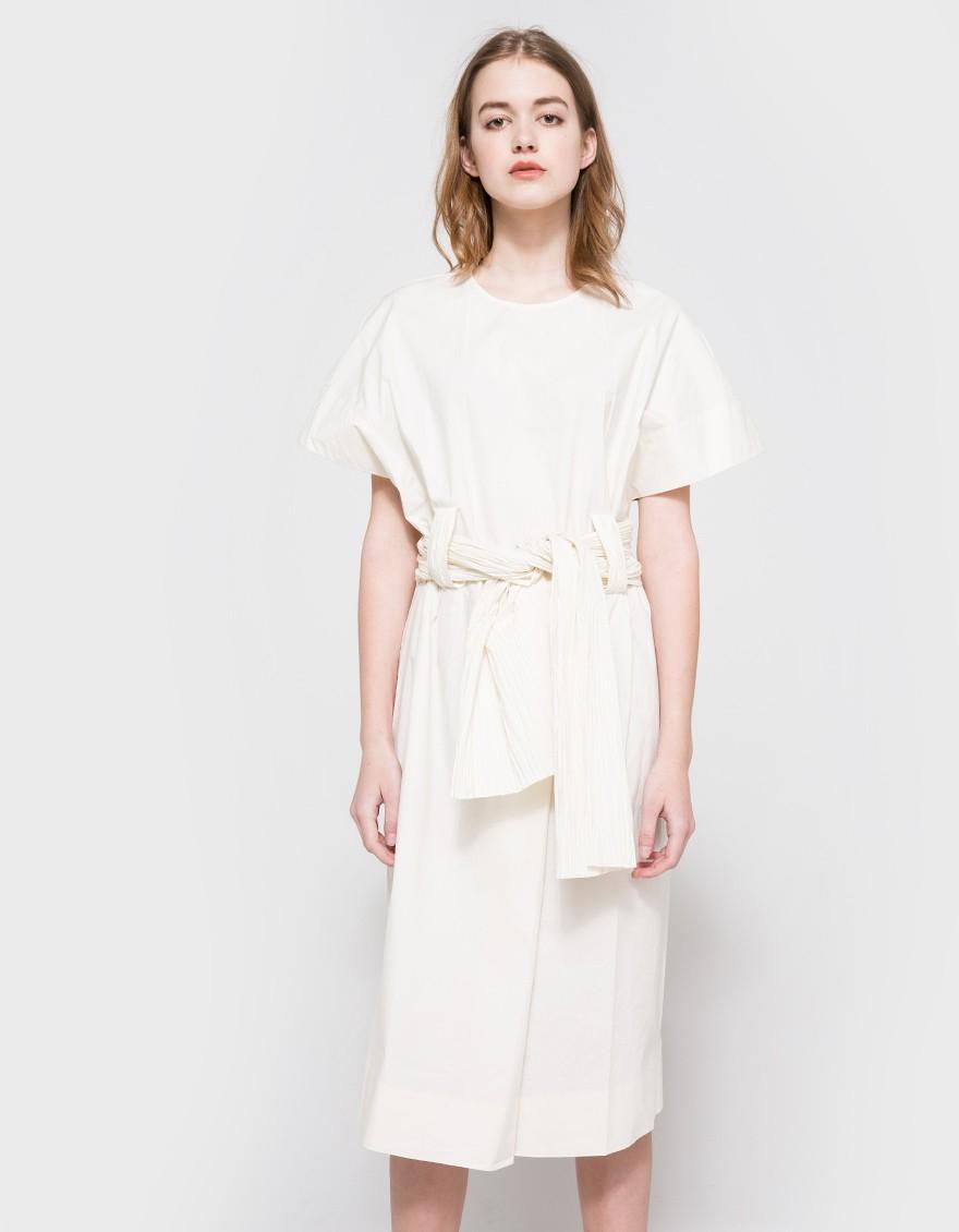 trademark fortunie belted cotton dress in white lyst
