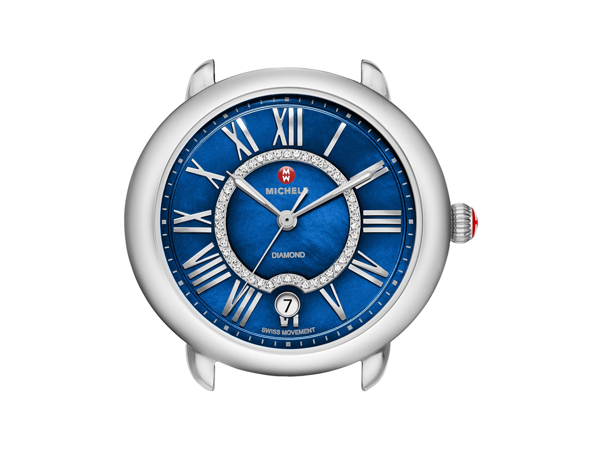 Lyst michele serein 16 blue diamond dial watch head 34mm in blue for Diamond dial watch