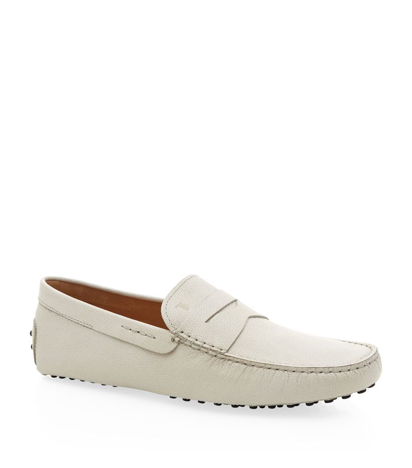 tod s new grain driving shoe in white for lyst