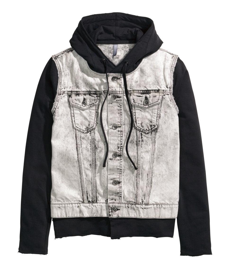 bde6dc3b12d1 H M Denim Jacket With A Hood in Black for Men - Lyst