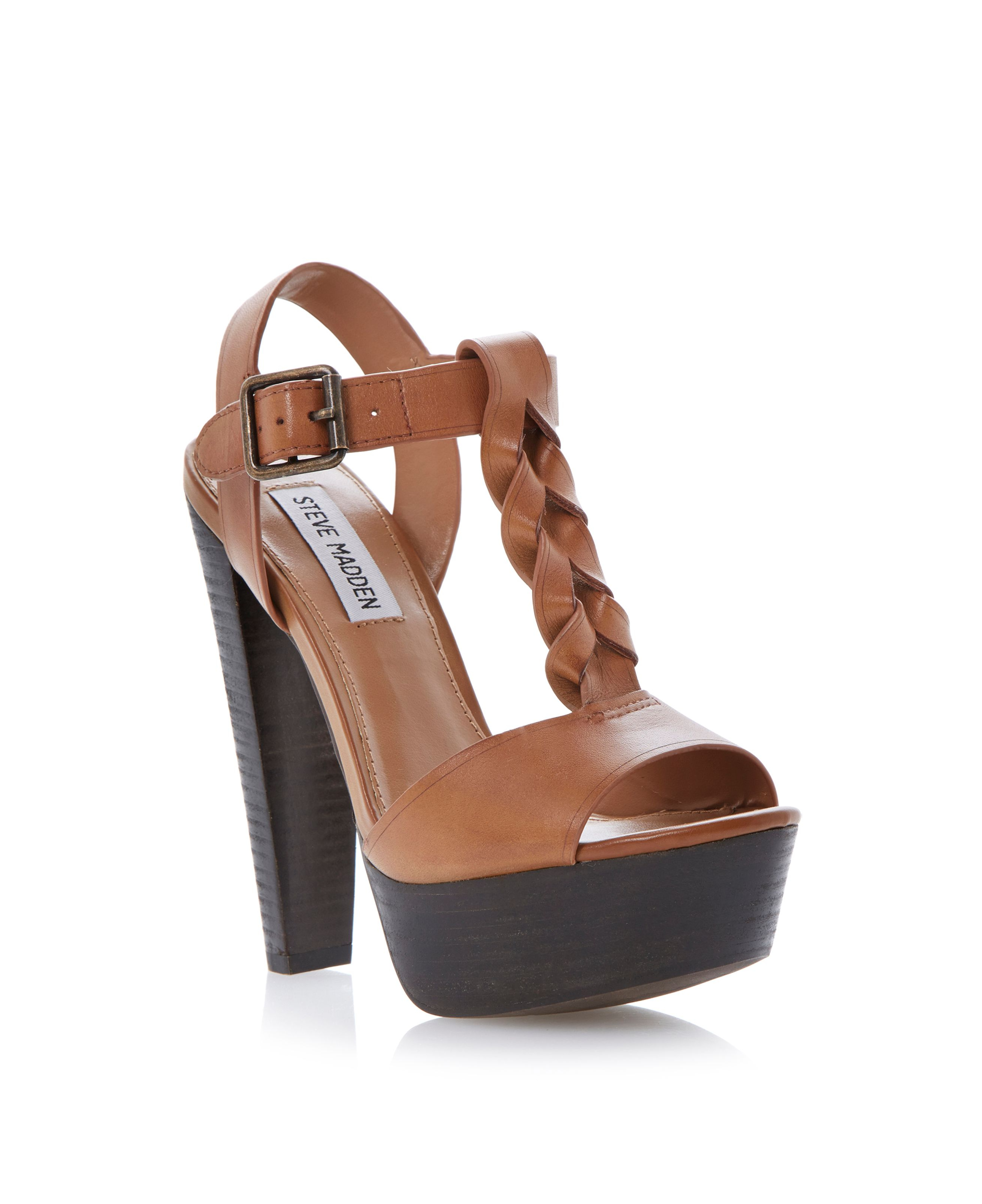 steve madden daylee block heel sandals in brown lyst. Black Bedroom Furniture Sets. Home Design Ideas