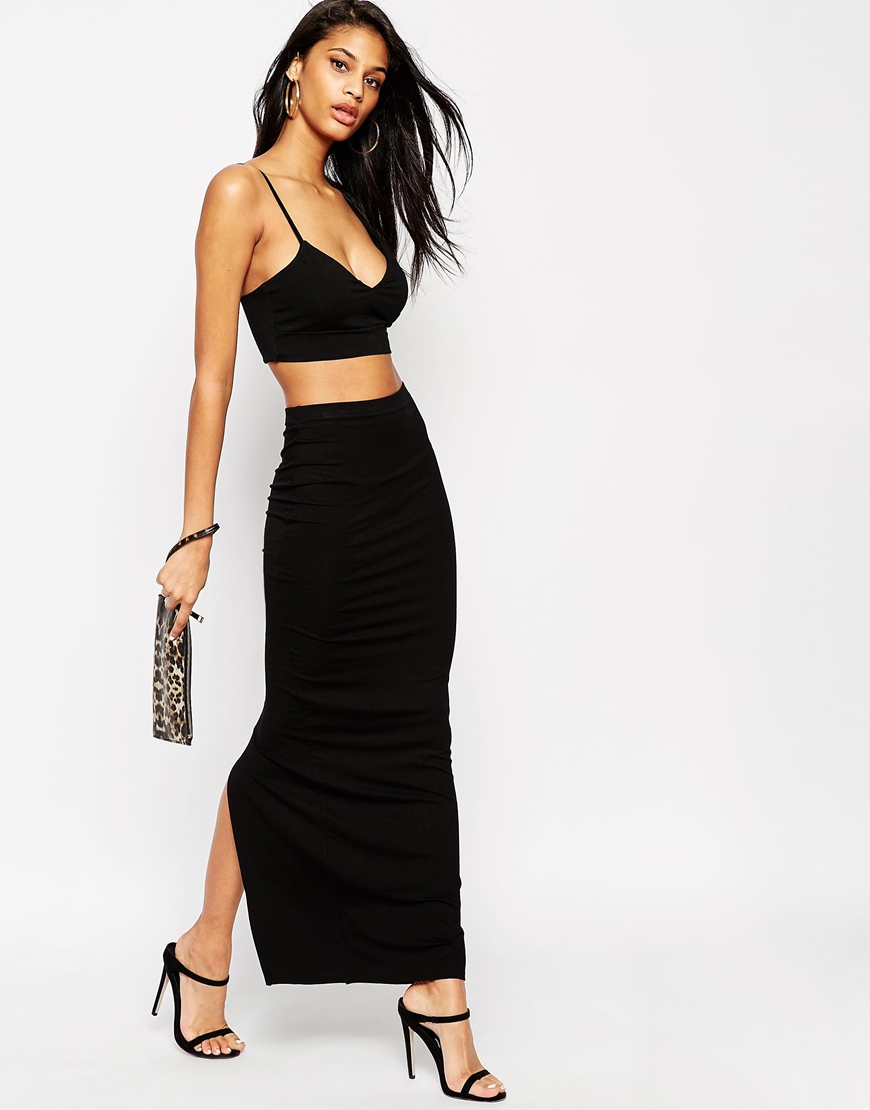 Asos Maxi Tube Skirt With Back Vent in Black | Lyst