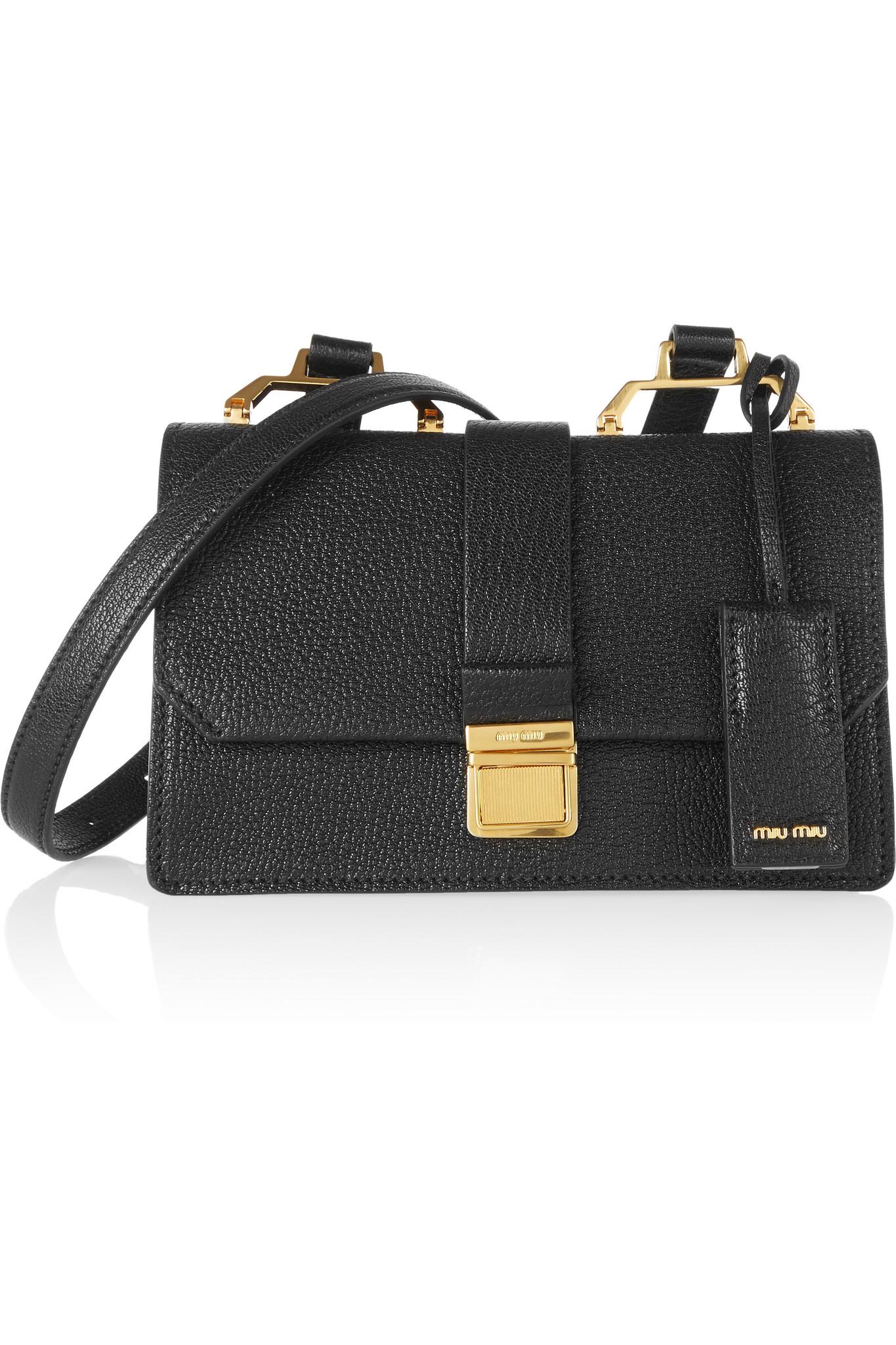 b84b12fd958 Lyst - Miu Miu Madras Small Textured-leather Shoulder Bag in Black
