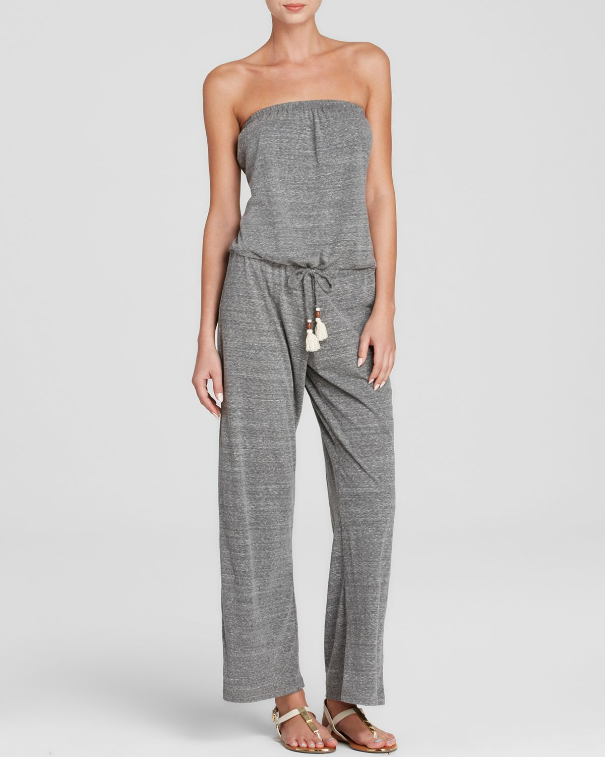 2e0a6d6ffd96 Lyst - Lucky Brand Lace It Up Jumpsuit Swim Cover Up in Gray