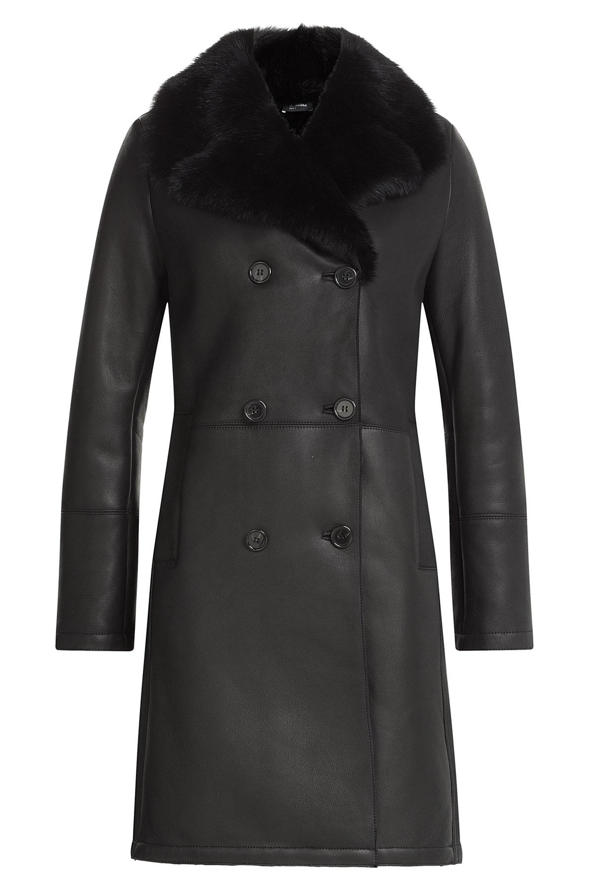 Jil sander navy Lamb Leather And Shearling Coat - Black in Black