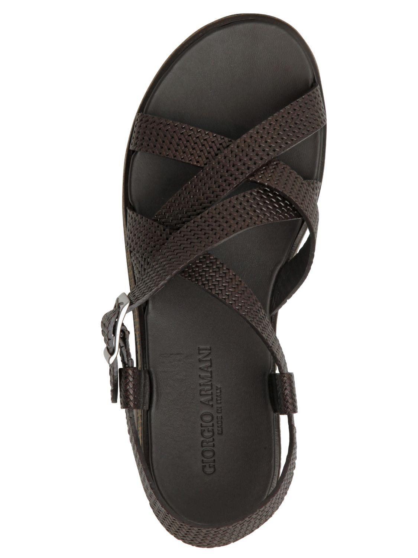Giorgio Armani Woven Leather Sandals In Brown For Men Lyst
