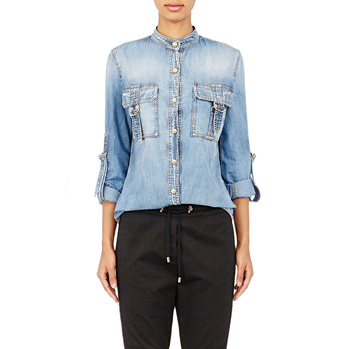 Buy Button-Down Strass Denim Shirt by Balmain at $ at luxurycheckout. Similar products are available.