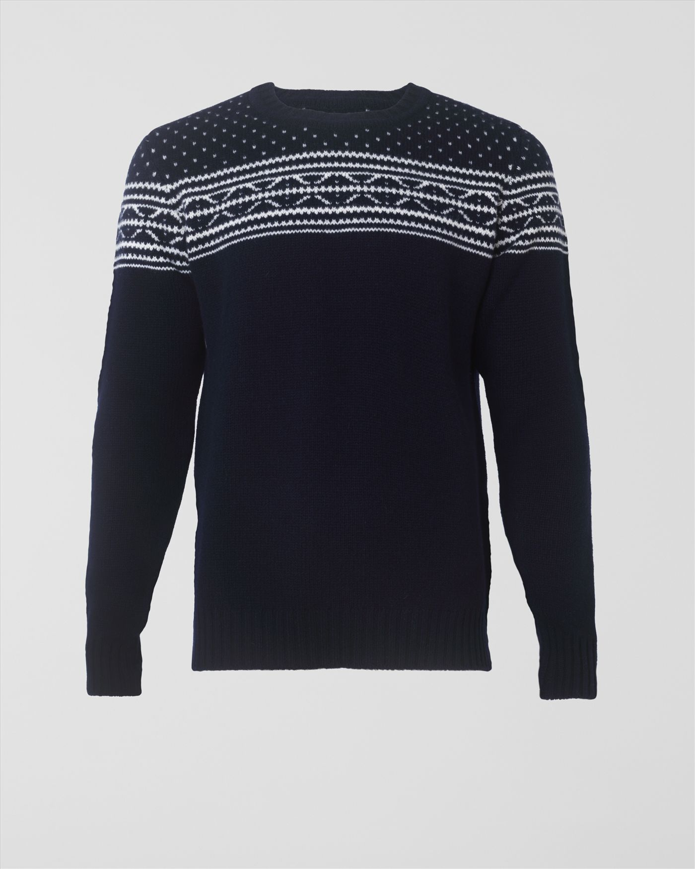 Jaeger Chunky Fair Isle Sweater in Blue for Men | Lyst