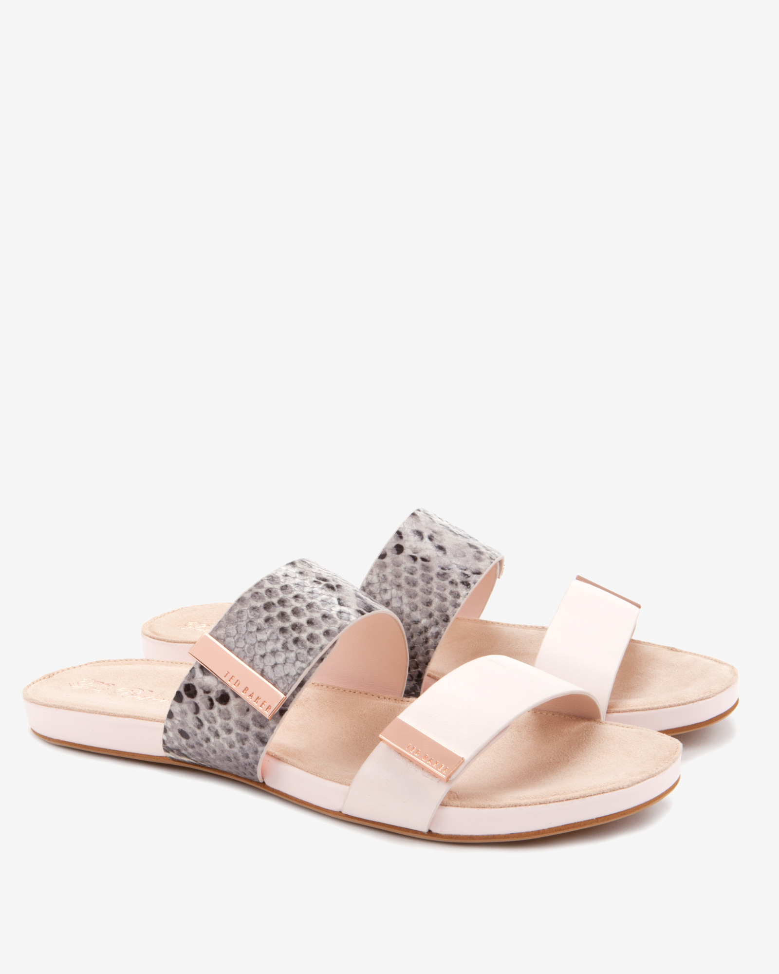 add15bedf4e7 Ted Baker Leather Slider Sandals in Gray - Lyst