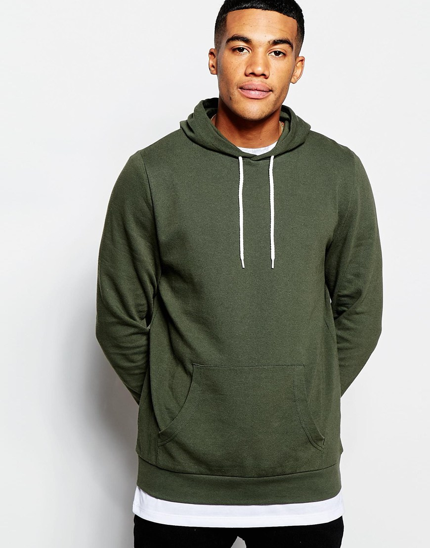 Asos Hoodie In Khaki in Green for Men | Lyst