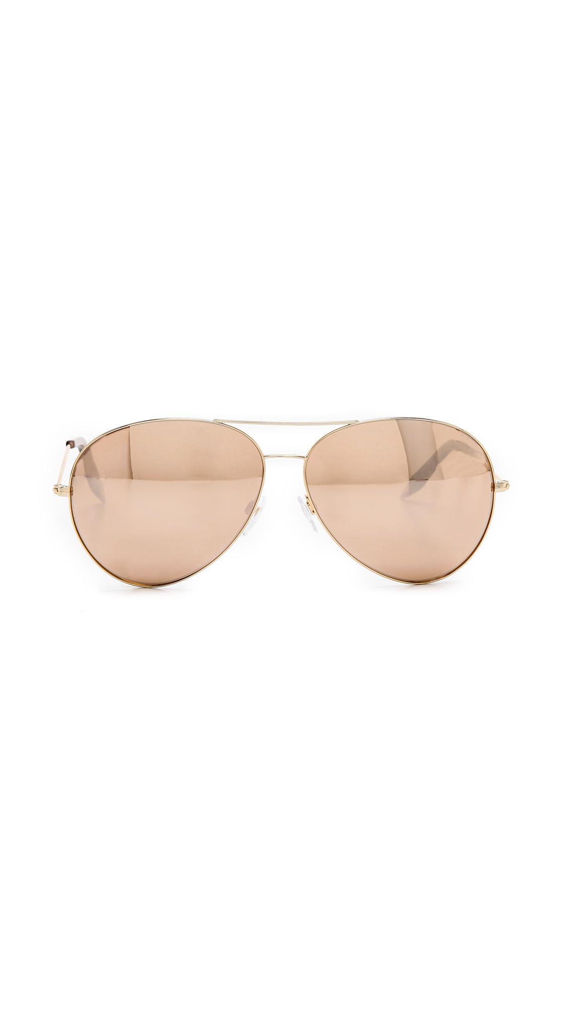 555f13ac1d Victoria Beckham 18K Gold Mirror Aviator Sunglasses - Gold Gold ...