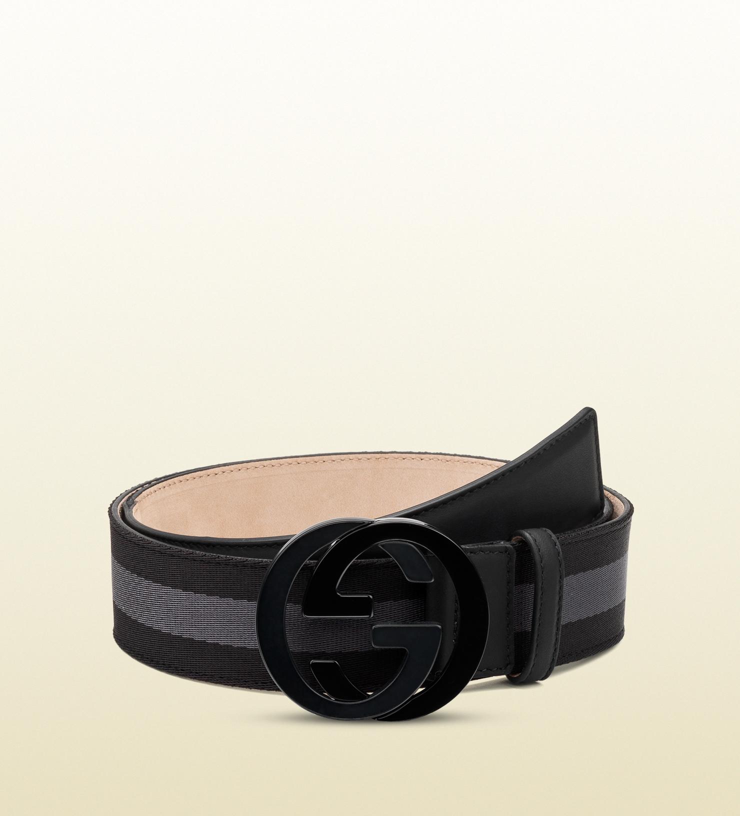 lyst gucci belt with interlocking g buckle in black for men