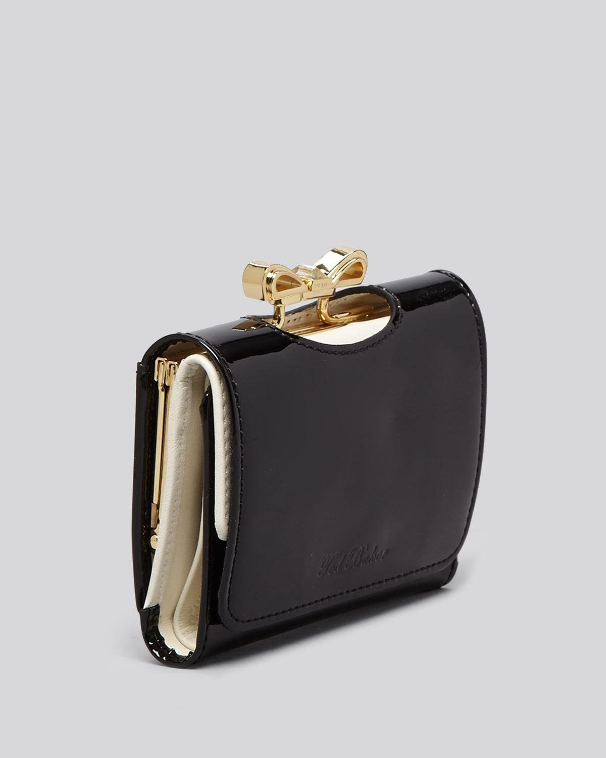 e5439f0597d485 Lyst - Ted Baker Wallet Small Crystal Bow Tri Fold in Black