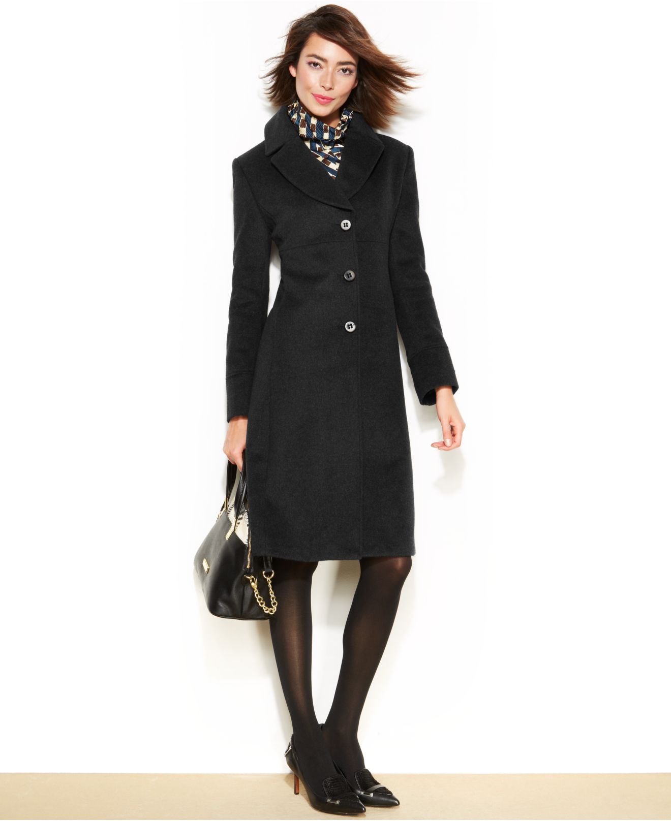 Jones new york Petite Wool-Blend Walker Coat in Black | Lyst