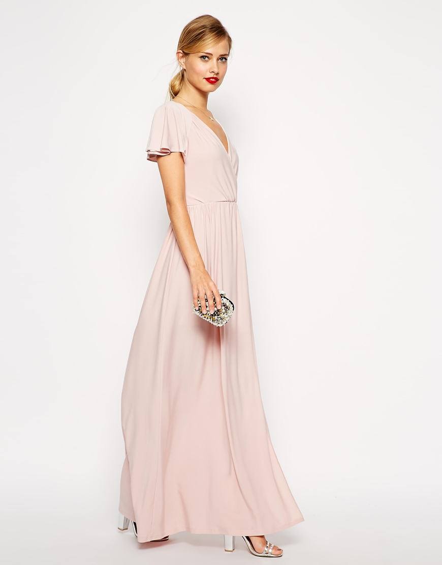 Asos Flutter Sleeve Maxi In Pink Lyst