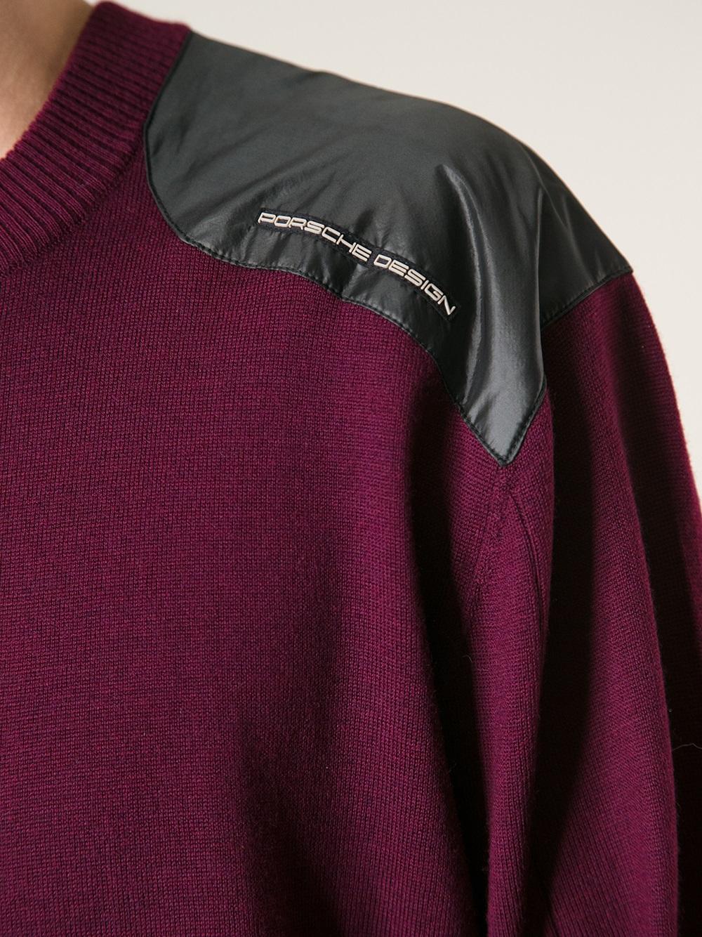 Lyst - Porsche Design Crew Neck Sweater in Red for Men ef31c9c35