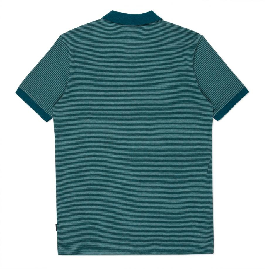 Lyst paul smith men 39 s teal tonal stripe cotton polo for Mens teal polo shirt