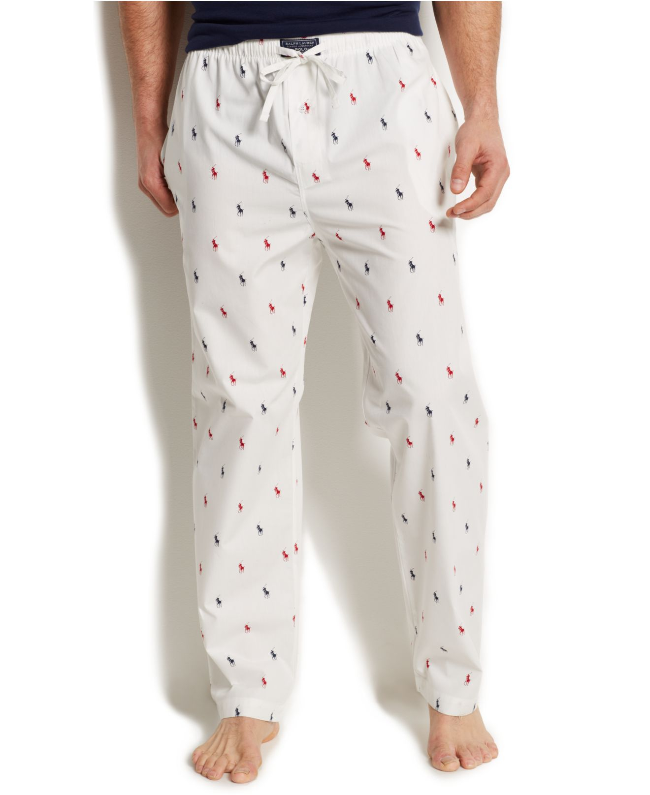 6dc6f3281ac19 Lyst - Polo Ralph Lauren Allover Pony Pajama Pants in White for Men