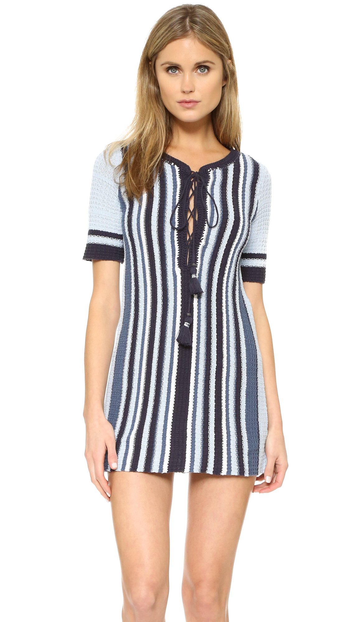 Free people Lollipop Tunic Sweater Dress in Blue | Lyst