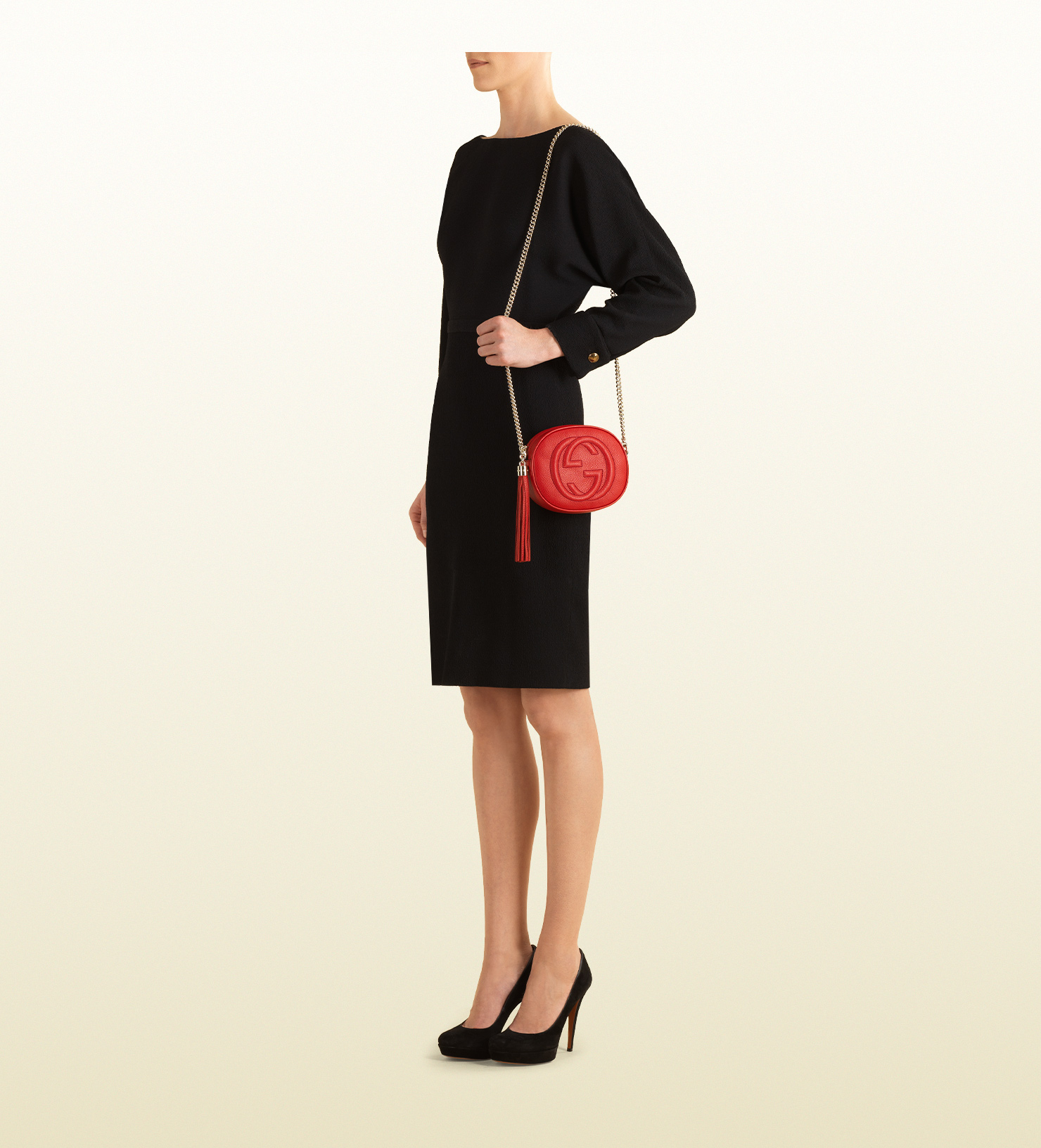 ccc30a17bb6a Lyst - Gucci Soho Leather Mini Chain Bag in Red