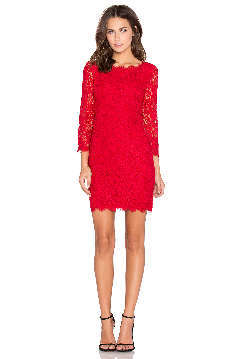 Diane von furstenberg Zarita Lace Mini Dress in Red | Lyst