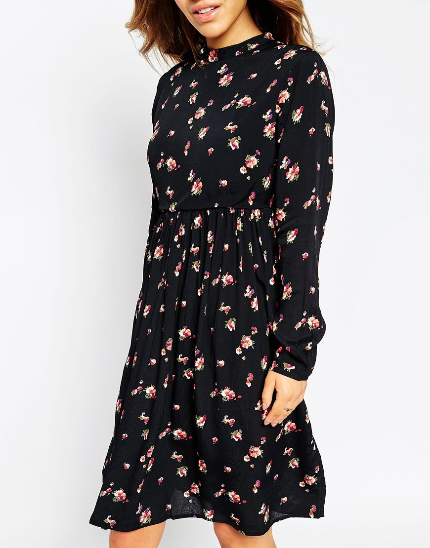 Asos Petite Midi Dress With Lace Up Back In Floral Print ...