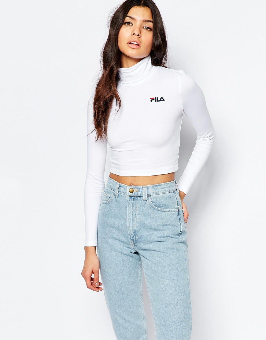 fila cropped roll neck long sleeve top with small logo in. Black Bedroom Furniture Sets. Home Design Ideas